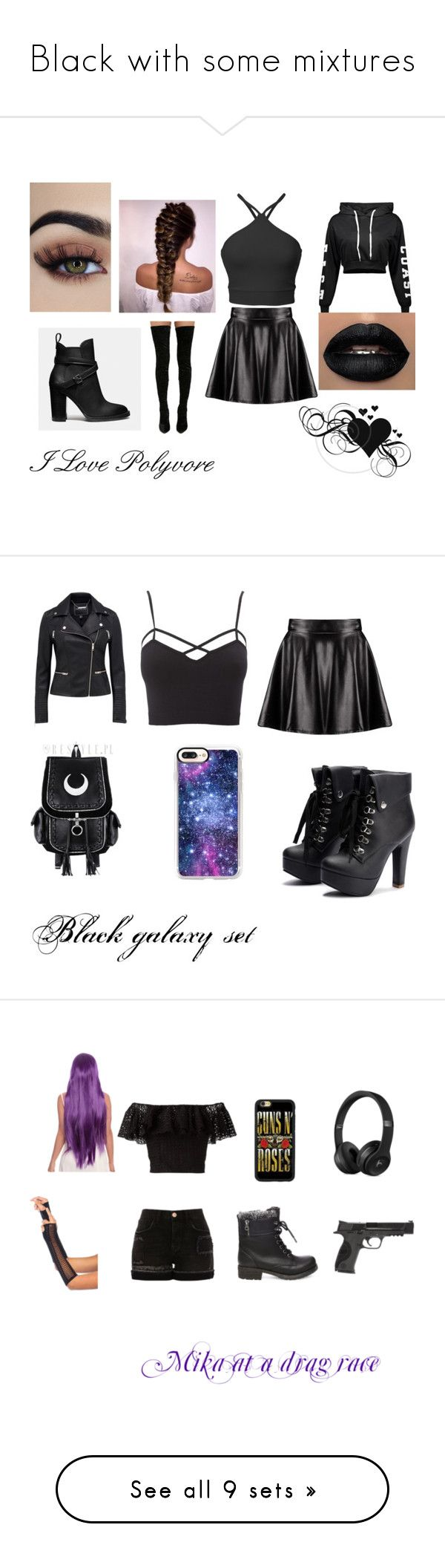 """Black with some mixtures"" by niacokerbengochea on Polyvore featuring Boohoo, Cape Robbin, Coach, Charlotte Russe, Casetify, plus size clothing, Philosophy di Lorenzo Serafini, River Island, Steve Madden and Smith & Wesson"