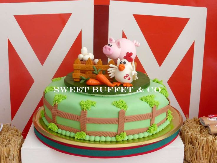 How adorable is this cake at a farm birthday party! See more party planning ideas at CatchMyParty.com!