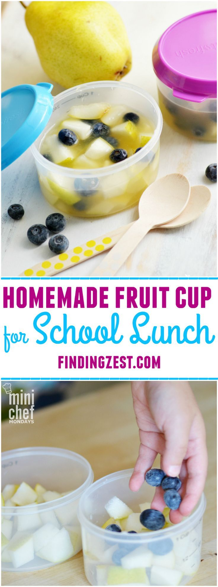 Homemade Fruit Cup for School Lunch: Send fresh fruit like pears to school with this homemade fruit cup! Prevents browning and tastes delicious! Yum.