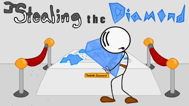 Stealing the Diamond is another funny stickman game made by Puffballs United. Help the guy to steal the Tunisian diamond and find a way out of the museum. Use multiple choice options to steal the diamond. Good luck!