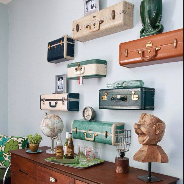 Neat idea for luggage wall shelves