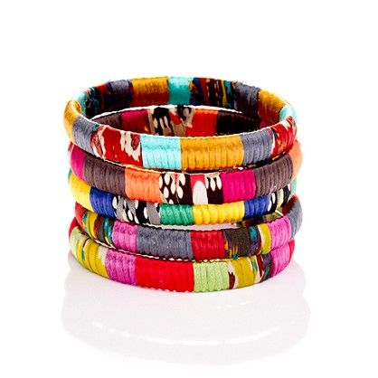 bangles: Accessories Mixed Fabr, Crafts Ideas, Mixed Fabr Bangles, Accessoriestm Mixedfabr, Cara Accessoriestm, Jewelry, Mixedfabr Bangles, Fabrics Bangles, Bright Colors