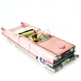 Modellino Auto cadillac rosa in metallo dipinto a mano 1:12 giocattolo vintage