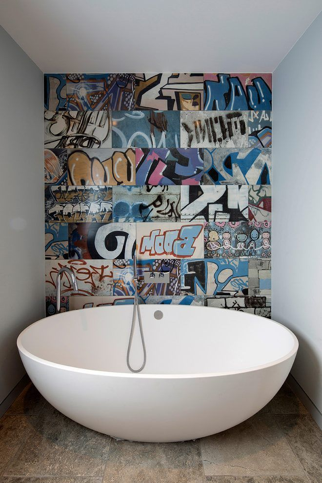 Graffiti Art Bathroom Contemporary With Feature Wall