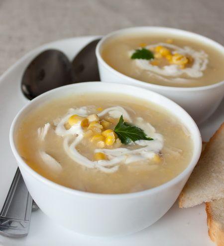 Картофельный суп с курицей и кукурузой