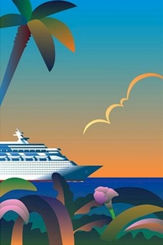20x30 art deco  ish  poster cruise ship in tropics