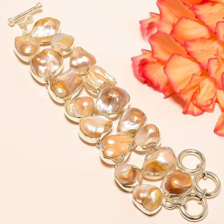 "Blister Biwa Pearl 925 Sterling Silver Jewelry Bracelet 7-8"" #Handmade #Statement"