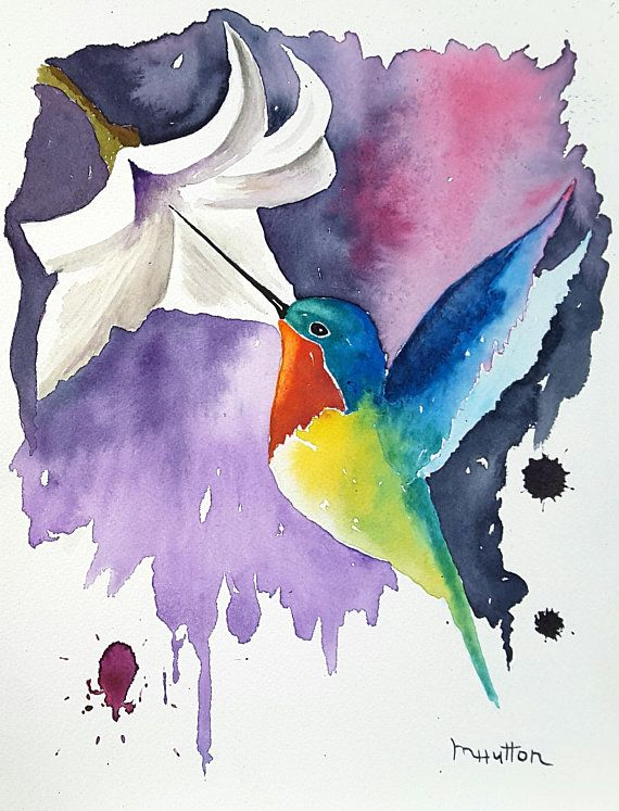 Winging It Original Watercolor Hummingbird Painting Birds Bird