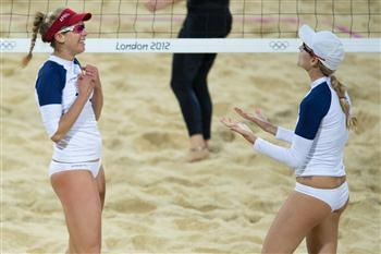 April Ross (left) and Jennifer Kessy had reason to celebrate after they reached the women's gold medal match at London 2012