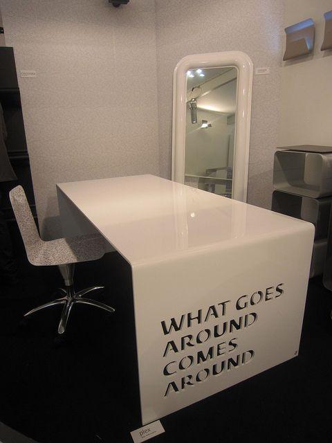 #plex table desk and #convex vertical mirror, design by #altreforme #officina at Salone del Mobile 2011 #interior #home #decor #homedecor #furniture #aluminium