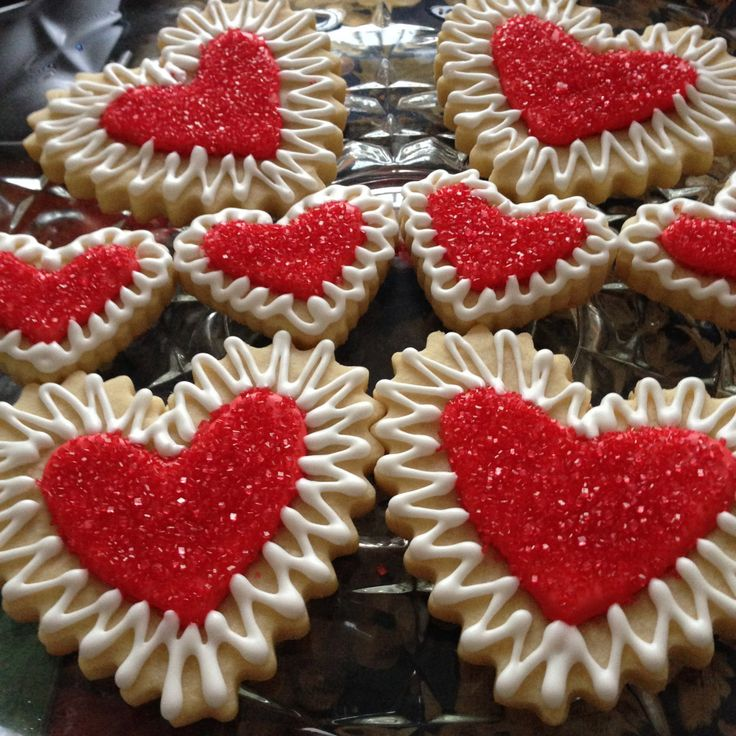 Delicious Homemade Fresh Baked Valentine Heart Sugar Cookies with Royal Icing & Sand Sugar - One Dozen Decorated Cookies - Made to Order by littlejoesattic on Etsy