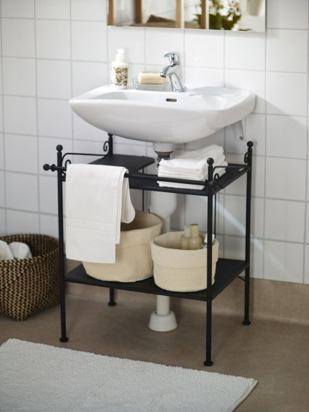 Hide unsightly pipes and add extra storage with the RÖNNSKÄR sink shelf. Want want want for the downstairs loo!