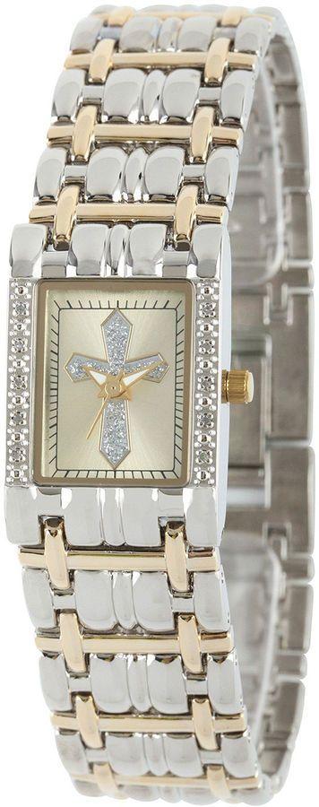 JCPenney FINE JEWELRY Personalized Womens Diamond-Accent Rectangular Two-Tone Cross Bracelet Watch