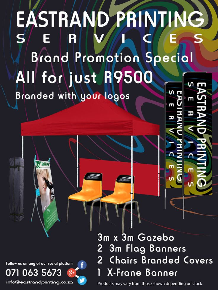 Brand Promotion SPECIAL!!! #Branding #Promoting #Gazebo #Banners #Printing For only R9500 you will get: This is perfect of all flea markets, golf days and school sporting events. 071 063 5673 www(dot)eastrandprinting(dot)co(dot)za info@eastrandprinting(dot)co(dot)za google(dot)com/+EastrandprintingCoZa www(dot)pinterest(dot)com/eastrandprint