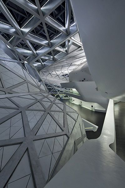Inside the Guangzhou Opera House. Design: Zaha Hadid Architects with Patrik Schumacher. Completed: 2011
