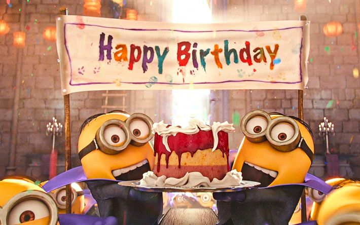 Download wallpapers 4k, Minions, Birthday Party, Despicable Me, Happy Birthday, Funny Minions