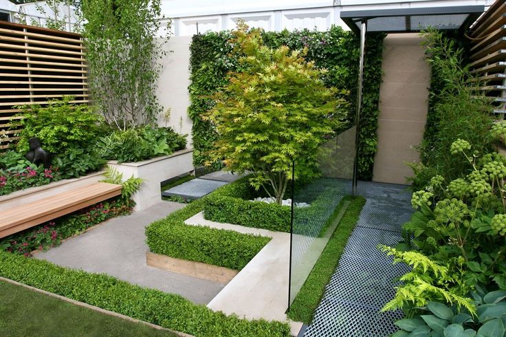 Modern Small Garden Design with Raised Beds Pathways and Wooden Wall