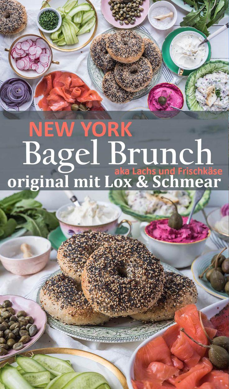 New York Bagel Brunch mit Lachs, Frischkäse und vielen frischen Zutaten