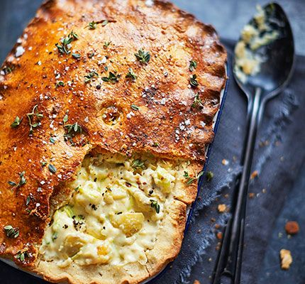A hearty pie with a mustard and fennel crust, this makes a stunning veggie centrepiece for everyday or entertaining