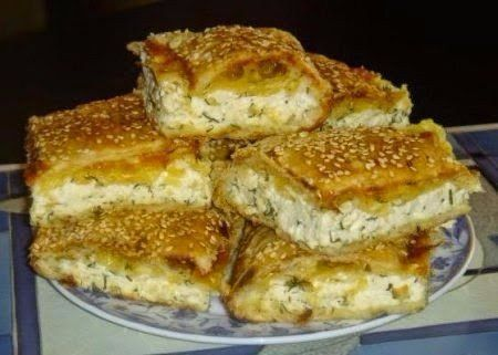 Сырный пирог со слоеным тестом