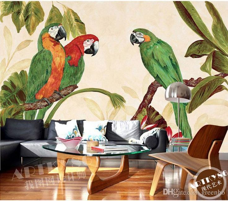 Vintage European Mural Parrot Amp Plantain Wallpaper Wall
