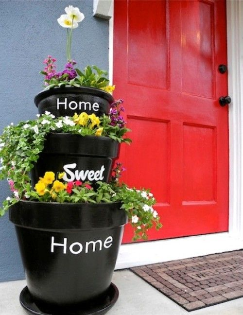 DIY Stacked Planters With Inscriptions For Your Home, Sweet Home: Red Doors, Flowers Pots, Cute Ideas, Front Doors, Flower Pots, Planters, Sweet Home, Front Porches, Houses Numbers