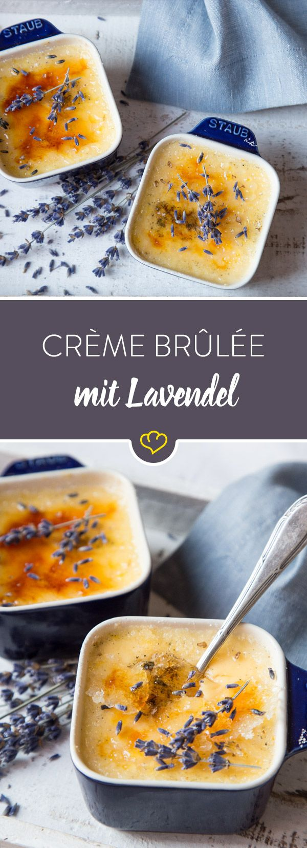 Im Dessert machen sich die blau-violetten Blüten äußerst gut: Lavendelblüten geben der klassischen Crème brûlée eine ganz besondere und weiche Note.