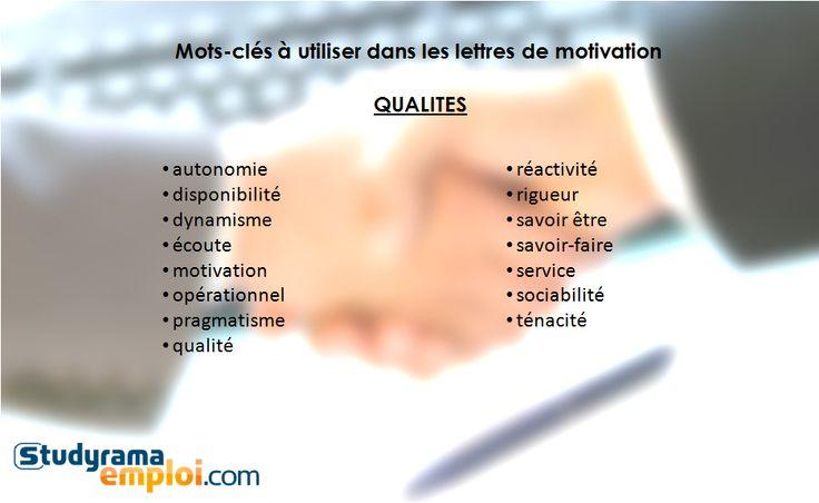 Mots-clés à utiliser dans les lettres de motivation : qualités - Conseils Studyrama Emploi : CV - lettre de motivation - stage - 1er emploi