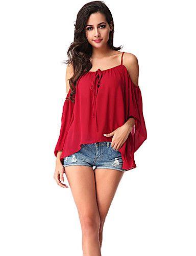 Γυναικεία Μπλούζα Καθημερινά Απλό Μονόχρωμο,¾ Μανίκι Ώμοι Έξω Πολυεστέρας Κόκκινο 5557867 2017 – €12.21