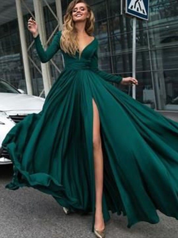 3fe1da31414 Dashing Darling Princess Style V-Neck Floor-Length With Ruffles Satin  Chiffon Dresses