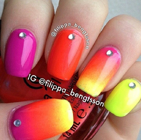 Pink Orange And Yellow Ombré Nails