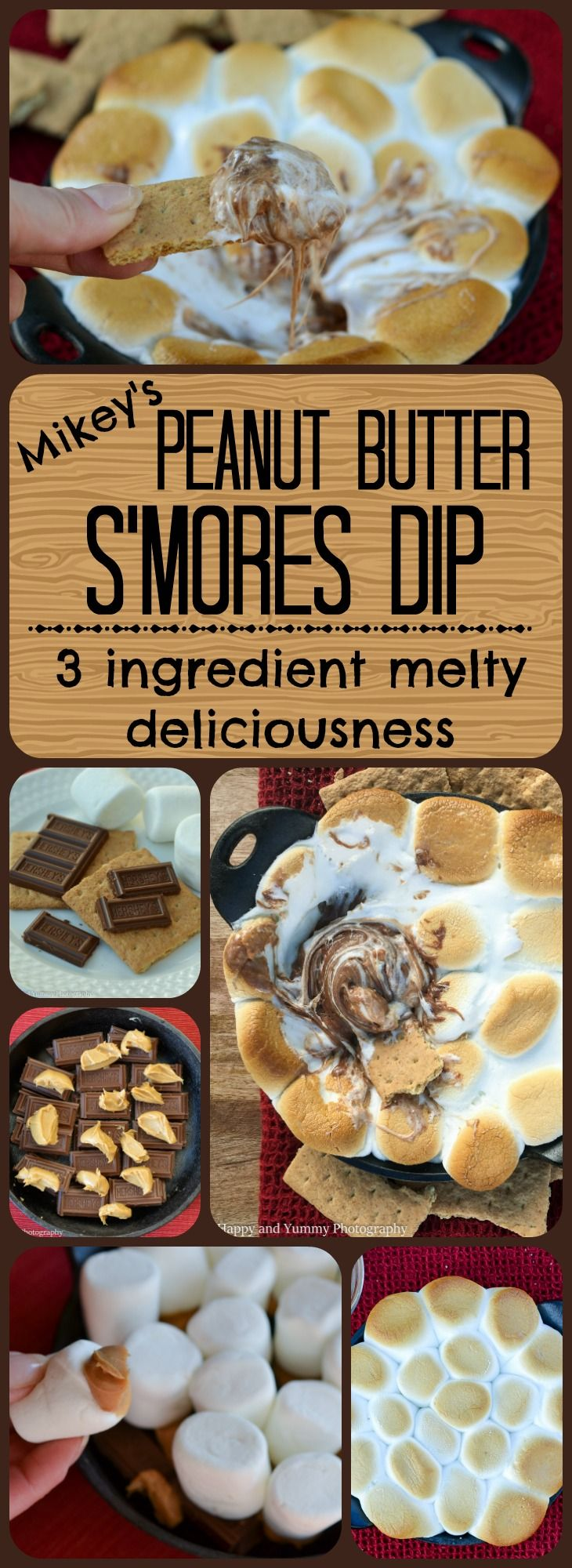 Peanut Butter S'mores Dip: a hot-from-the-oven pan of deliciousness made with only 3 ingredients!