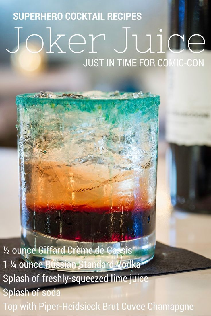 Joker Juice cocktail recipe from Encore Champagne Bar in San Diego for a superhero or Comic-Con party! #cocktailrecipes