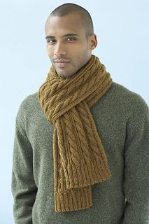 A manly man's cable-knit scarf - Ravelry