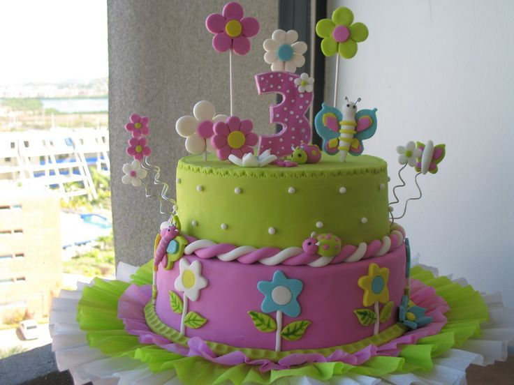 Pin Tortas Infantiles Flores Mariposas Hawaii Ajilbabcom Portal on ...
