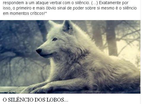 O silêncio dos lobos.... respondem a um ataque verbar com silêncio.Exatamente por isso mostra  poder sobre si mesmo em momentos críticos