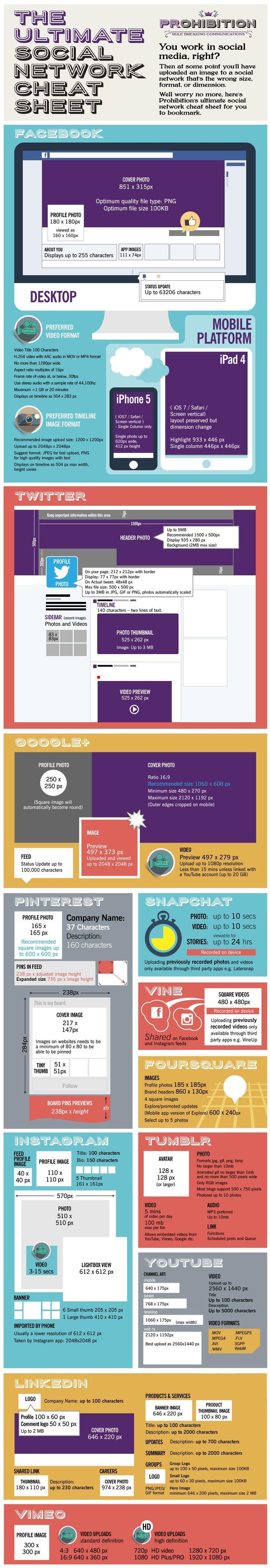 The Ultimate #SocialMedia Cheat Sheet For Facebook, GooglePlus, Twitter, #Pinterest, Instagram, LinkedIn, Vine, Snapchat, Foursquare, Tumblr, YouTube, Vimeo - #infographic