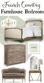 Create a romantic bedroom with this french country farmhouse bedroom decor. Go to theweatheredfox.com to buy farmhouse bedroom products and decor!