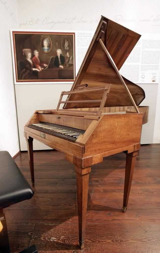 "Mozart's fortepiano returns home to Vienna- you can see the black ""natural"" keys and the white ""accidentals"" in this photo."