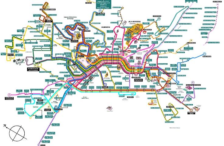 MAPA DE LINEAS DE AUTOBUSES URBANOS