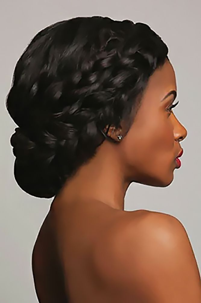 Black Women Wedding Hairstyles Updo For Medium Hair With Braid Tsdhairextensions Naturalha Braided Hairstyles For Wedding Hair Styles Black Wedding Hairstyles