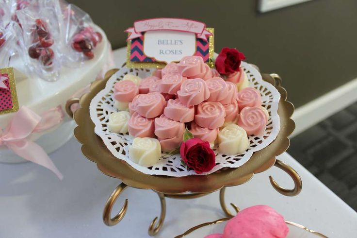 Chocolate roses at a Disney bridal shower party! See more party planning ideas at CatchMyParty.com!