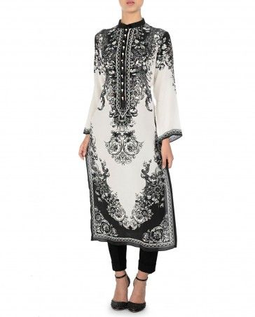 RAJDEEP RANAWAT Black and White Oriental Floral Printed Tunic