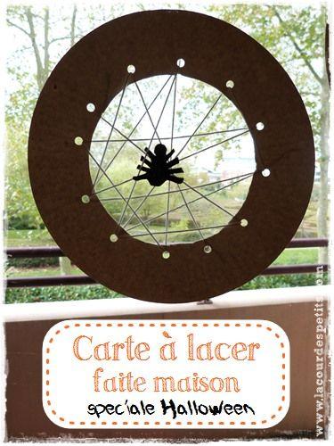 Bricolage d'Halloween : la carte à lacer toile d'araignée  http://www.lacourdespetits.com/bricolage-d-halloween-carte-a-lacer-toile-araignee/ #halloween #motricitefine #DIY