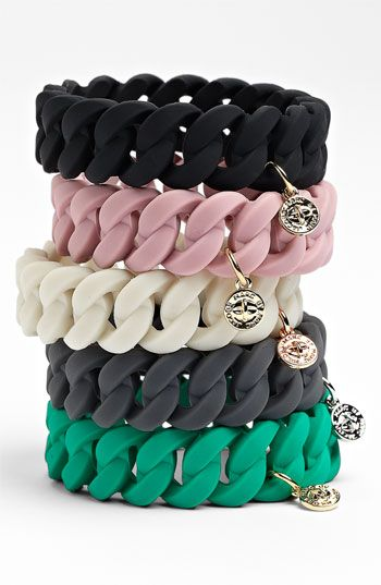 MARC BY MARC JACOBS 'Rubber Turnlock' Stretch Bracelet- I want the pink one!