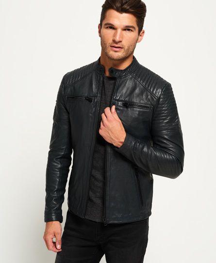 Leather Quilt Racer Jacket