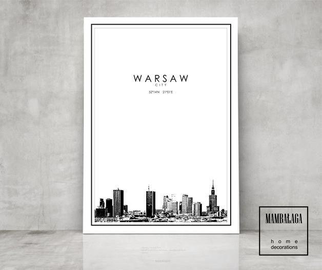 Designerski plakat panoramy Warszawy format A3 Każdy plakat sygnowany logo.