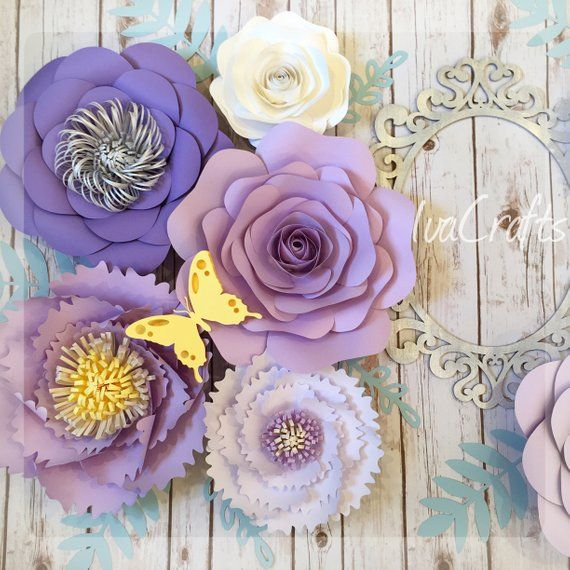 Large Paper Flowers Set Of 12 Purple Lavender And Lilac Etsy Paper Flower Wall Decor Large Paper Flowers Paper Flowers