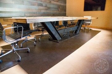 Table - Reclaimed Tobacco Barn Brown - industrial - Dining Tables - Phoenix - Porter Barn Wood LLC