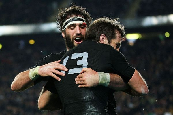 Samuel Whitelock Photos Photos - Conrad Smith of the All Blacks celebrates his try with teammate Samuel Whitelock during The Rugby Championship, Bledisloe Cup match between the New Zealand All Blacks and the Australian Wallabies at Eden Park on August 15, 2015 in Auckland, New Zealand. - New Zealand v Australia - The Rugby Championship